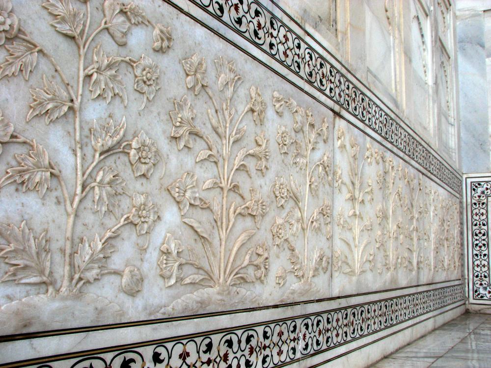 El-característico-mármol-del-Tah-Majal