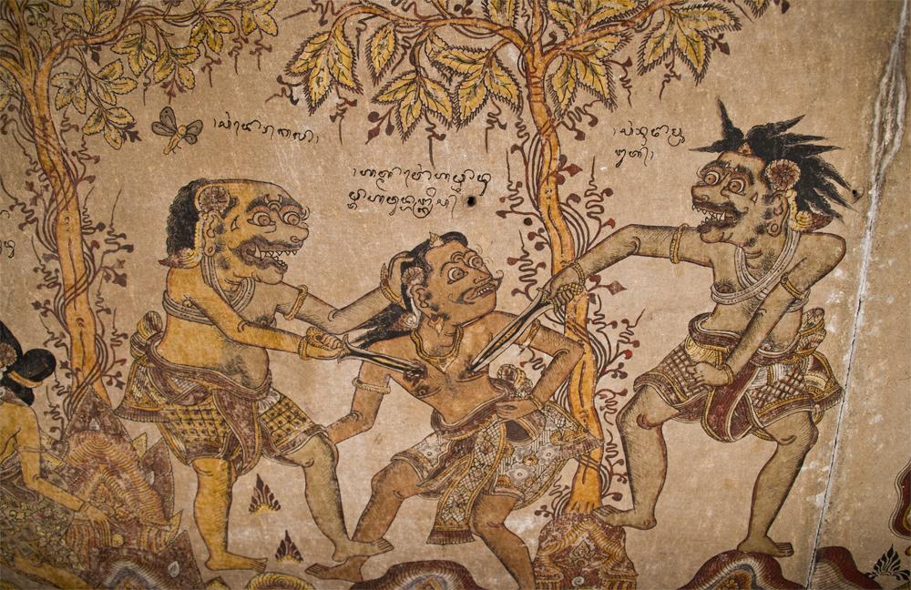 Pinturas en-los-techos-del Palacio Puri Semarapura en Klungkung